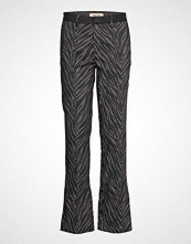 Mos Mosh Callie Zebra Pant Bukser Med Rette Ben Svart MOS MOSH