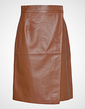 French Connection Abri Leather Knee Length Skirt Kort Skjørt Oransje FRENCH CONNECTION