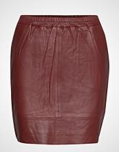 Coster Copenhagen Leather Skirt W. Elastic In Waist Kort Skjørt Rød COSTER COPENHAGEN