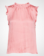 Banana Republic Sl Ruffle Neck Top Solids Bluse Ermeløs Rosa BANANA REPUBLIC