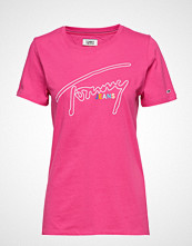 Tommy Jeans Tjw Outline Signatur T-shirts & Tops Short-sleeved Rosa TOMMY JEANS
