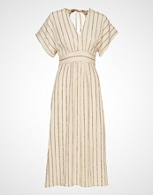 Mango Stripe Textured Dress Knelang Kjole Creme MANGO