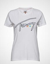 Tommy Jeans Tjw Outline Signatur T-shirts & Tops Short-sleeved Hvit TOMMY JEANS