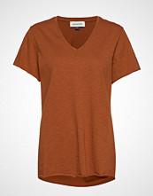 Denim Hunter Dhluz V Neck Tee Slub Yarn Jersey T-shirts & Tops Short-sleeved Oransje DENIM HUNTER