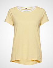 Tommy Hilfiger Ellen Round-Nk Cap Slv T-shirts & Tops Short-sleeved Gul TOMMY HILFIGER