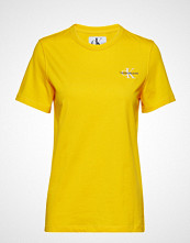 Calvin Klein Monogram Embroidery Straight Tee T-shirts & Tops Short-sleeved Gul CALVIN KLEIN JEANS