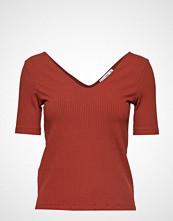 Mango Striped Rib T-Shirt T-shirts & Tops Short-sleeved Rød MANGO
