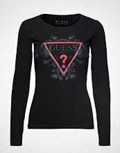 GUESS Jeans Ls Cn Roses Tee T-shirts & Tops Long-sleeved Svart GUESS JEANS