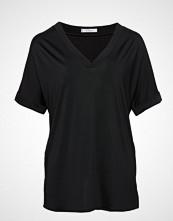 Violeta by Mango V-Neck T-Shirt Bluse Kortermet Svart VIOLETA BY MANGO