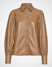 Ganni Lamb Leather Shirt Langermet Skjorte Brun GANNI