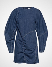 Ganni Suit Denim Dress Knelang Kjole Blå GANNI