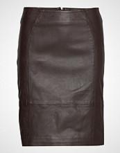 DEPECHE Leather Skirt Blyantskjørt Skjørt Brun DEPECHE