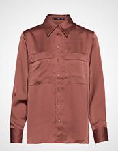 Mango Satin Shirt Langermet Skjorte Rød MANGO