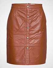 Minus Torina Leather Skirt Kort Skjørt Brun Minus