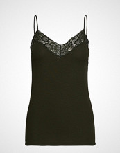Selected Femme Slfmio Rib Lace Singlet - Color T-shirts & Tops Sleeveless Svart SELECTED FEMME