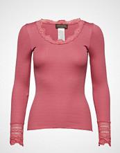 Rosemunde Silk T-Shirt Regular Ls W/Wide Lace T-shirts & Tops Long-sleeved Rosa ROSEMUNDE