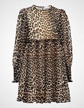 Ganni Pleated Georgette Mini Dress Kort Kjole Brun GANNI