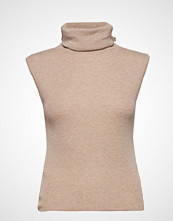 Mango Turtleneck Ribbed Top T-shirts & Tops Sleeveless Beige MANGO