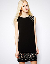 Mango Eyelet Shift Dress - Black