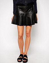 Mango Leather Peplum Skirt - Black