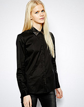 Mango Studded Collar Shirt - Black