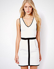 Mango V Neck Contrast Dress - Cream
