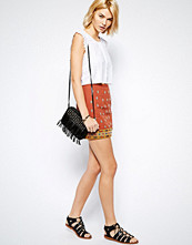 Mango Embroidered Mini Skirt - Red