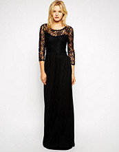 Mango Maxi Dress With Lace Top - Black