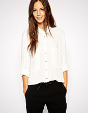 Mango Crepe Shirt With Contrast Buttons - White