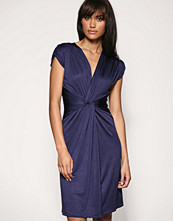 Mango Slinky Ruched Front Dress - Blue