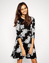 ASOS Swing Dress in Mono Floral with 3/4 Length Sleeves