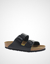 Birkenstock Arizona Black Leather Two Strap Narrow Fit Sandals