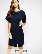 Closet London Closet Kimono Sleeve Midi Dress With Tie Back Detail And Split Front