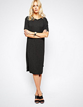 Just Female Gilli Long T-Shirt Dress in Black Melange