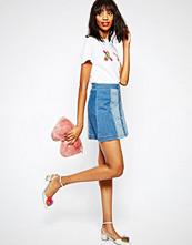 House of Holland Whip Stitch Denim Mini Skirt