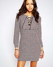 Maison Scotch Wool Blend Dress With Lace Up Neck
