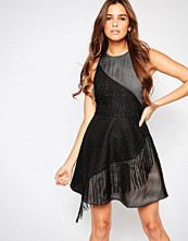 Adelyn Rae Textured Skater Dress with Fringing