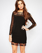 Adelyn Rae Mesh and Lace Long Sleeve Dress