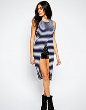 Brave Soul Striped Cross Over Longline Top
