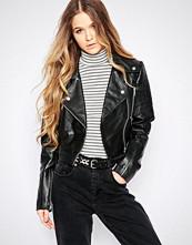Barneys Originals Cropped Leather Biker jacket