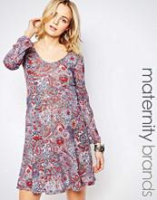 Mamalicious Mamalicious Maternity Dress With Long Sleeves In Paisley Print