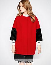 Helene Berman Kimono Coat In Red With Black Faux Fur Sleeve