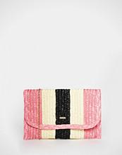 Nali Striped Straw Clutch Bag