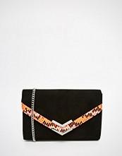Carvela Envelope Clutch Bag With Bright Faux Snake Panel