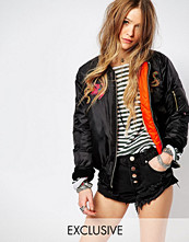 Reclaimed Vintage Boyfriend Bomber Jacket With Dragon Patch Detail