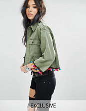Milk It Vintage Cropped Shirt Jacket With Pom Pom Trim