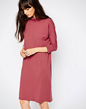 Just Female High Neck Jersey Dress in Deep Pink