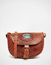 Hiptipico Handmade Semi Precious Jade Tooled Leather Saddle Bag