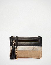 Urbancode Leather Zip Top Clutch Bag In Metallic Panel With Front Tassel Zip