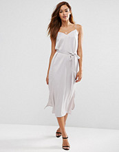 ASOS Midi Slip Dress in Satin with Tie Waist